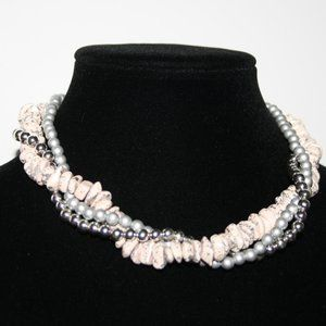 """Stunning multi stand silver and pink necklace 17"""""""